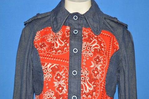 70s Denim Women's Bandana Shirt Jacket Small / Medium
