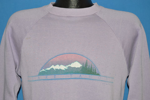 80s Lake Tahoe Purple Raglan Tourist Sweatshirt Medium