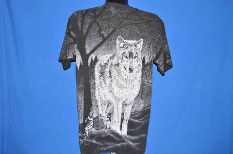 90s White Wolf All Over Print t-shirt Large