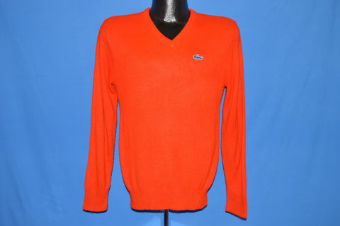 70s Izod Lacoste Red V Neck Sweater Small