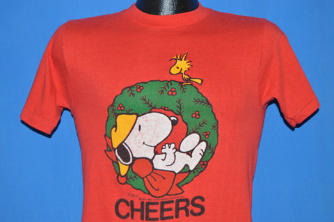 80s Snoopy Woodstock Cheers Christmas Wreath t-shirt Small