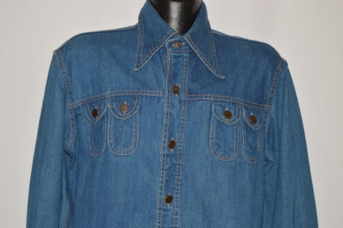 70s Hang Ten Big Collar Denim Hippie Shirt Jacket Large