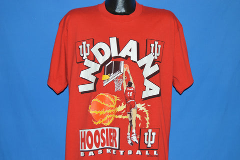 90s Indiana Hoosiers Flaming Basketball t-shirt Extra Large