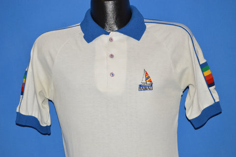 80s Hawaii Sailboat Tourist Polo Shirt Medium