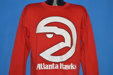 f83b5b70 80s Atlanta Hawks Logo Long Sleeve Sweatshirt Large - The Captains Vintage