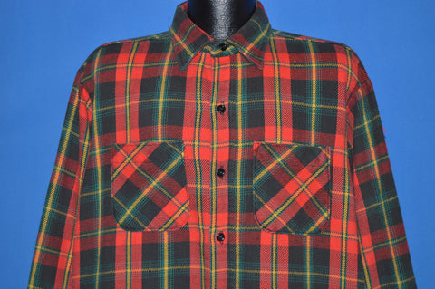 80s Big Mac Red Green Plaid Flannel Work Shirt Extra Large Tall