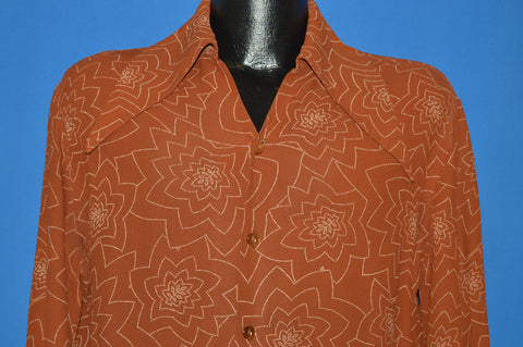 70s Triumph Giant Collar Rayon Men's Disco shirt Large