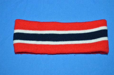 90s Red Black Striped Knit Acrylic Ear Warmer Small