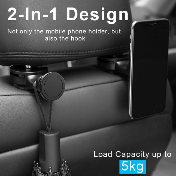 Portable Magnetic Universal Cell phone Holder. Mounted On The Back Part of The Headrest Pillar - sessca