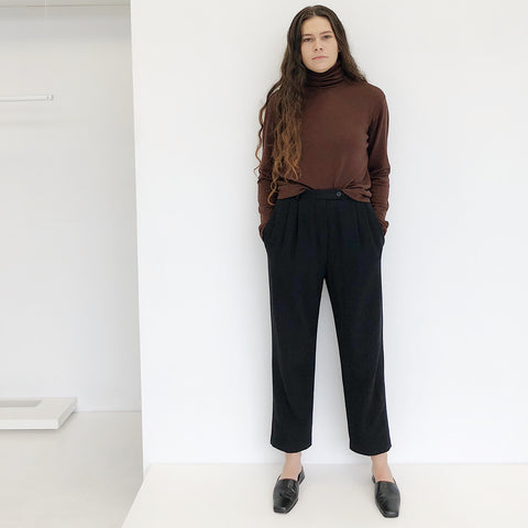 Warm Brown Silk Turtleneck Sweater