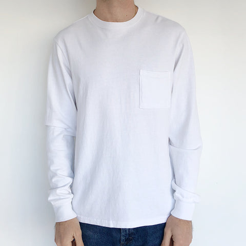 paa White Long Sleeve Pocket Tee