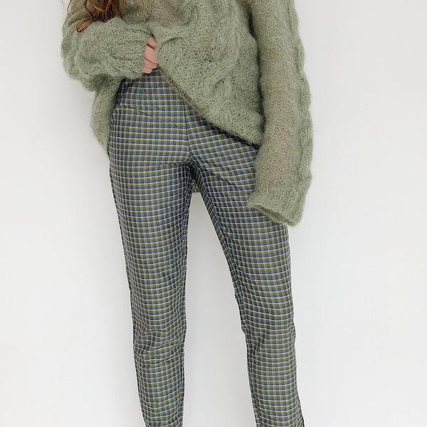 Plaid Silk Cigarette Pant