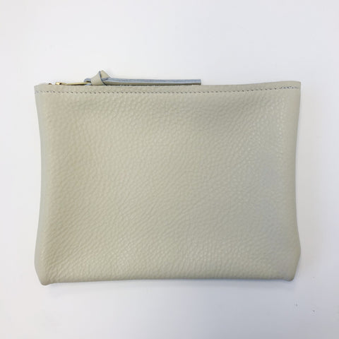 ARA Handbags Small Cream Pebble Zip Clutch