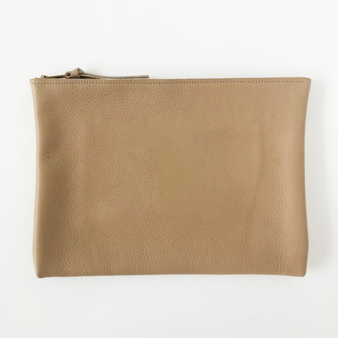 ARA Handbags Tan Pebble Zip Clutch