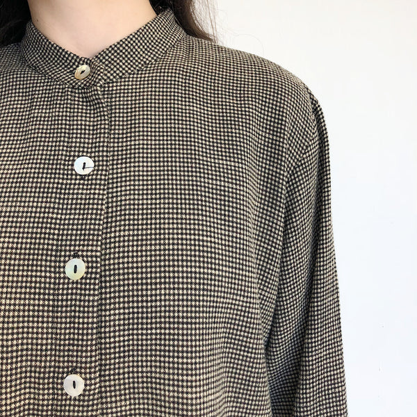 Micro Houndstooth Shirt Jacket