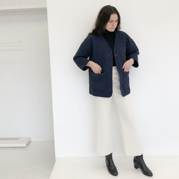 Micaela Greg Navy Quilted Jacket