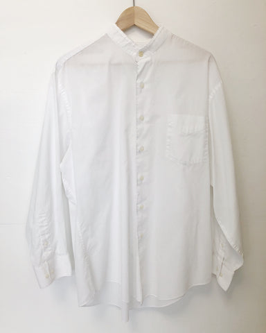 White Lightweight Band Collar Button Down