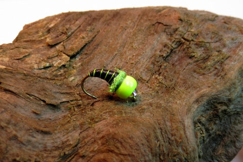 Chartreuse/Black Tungsten Ice Fly #12