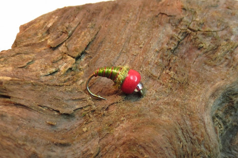 Red Glow/Olive Tungsten Ice Fly #12