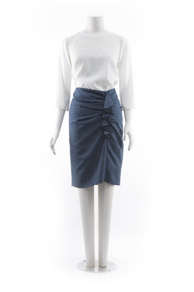 Frill Skirt - Blue with Navy Trim