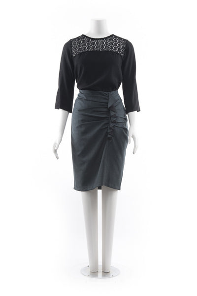 Frill Skirt - Grey with Black Trim