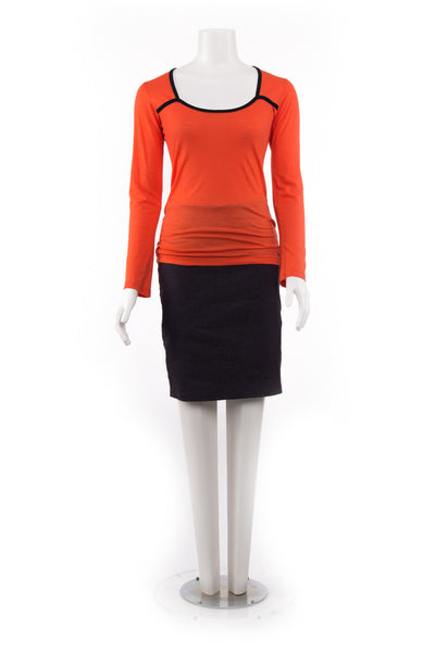 Merino Contrast Top - Orange