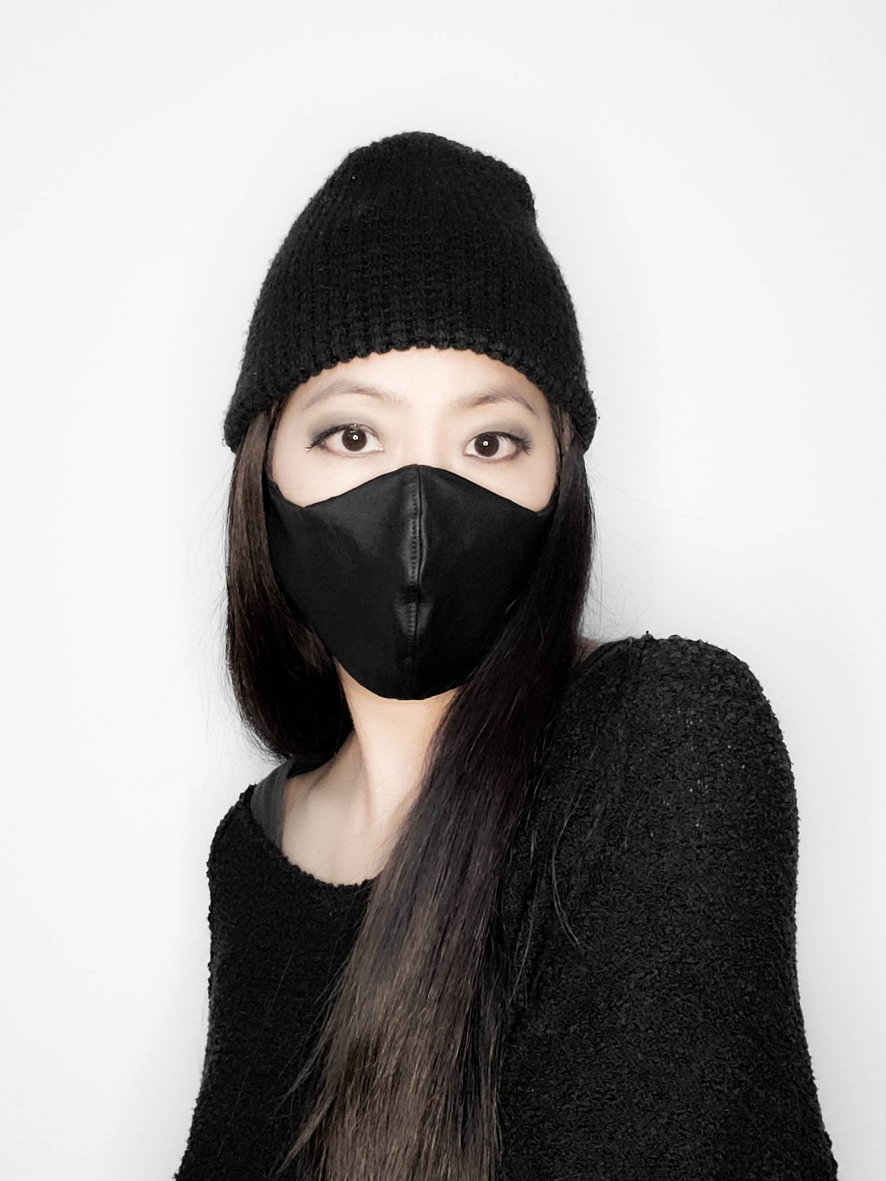 Black Waxed Twill 3D Face Mask Adjustable Elastic FMS00005