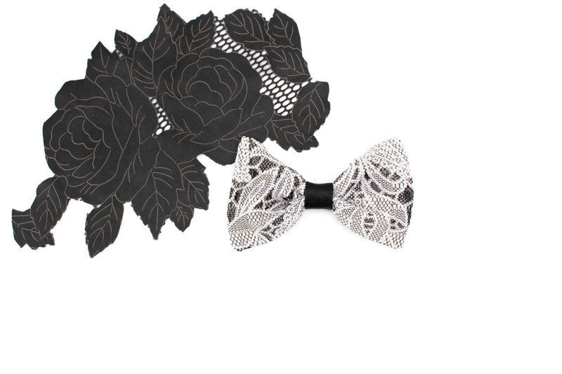 Ecru and Black Lace Netting Bow Tie Clip Hair Bow Clip