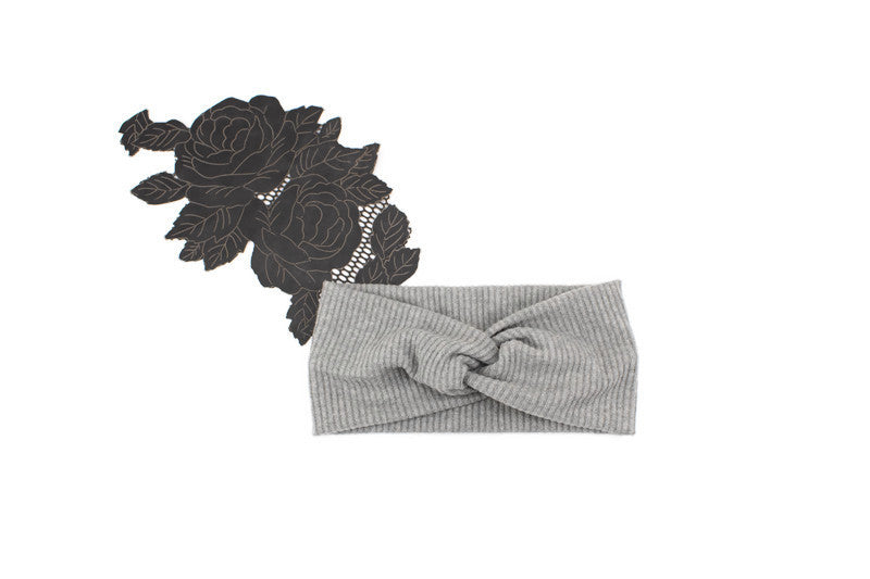 Classic Gray Brushed Rib Knit Headband