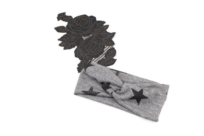 Heather Gray Distressed Stars Print Knit Headband II