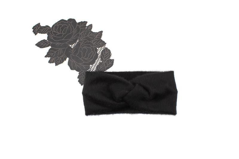 Black Faux Hair Brushed Knit Headband