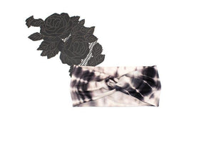 Black and Pale Nude Tie Dye Print Knit Headband
