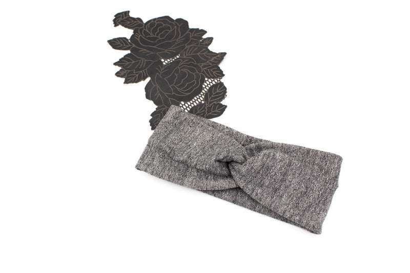 Heather Gray Herringbone Sweater Knit Headband