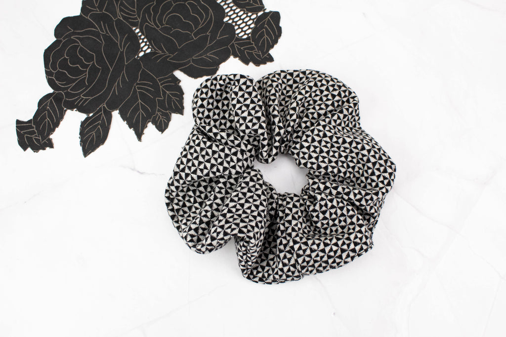 Black and Pale Gray Geometric Triangular Extra Large Hair Scrunchie