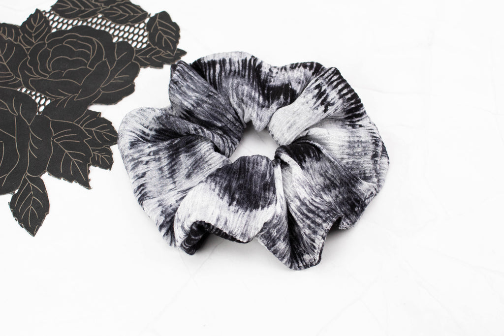Black and Gray Tie Dye Extra Large Hair Scrunchie