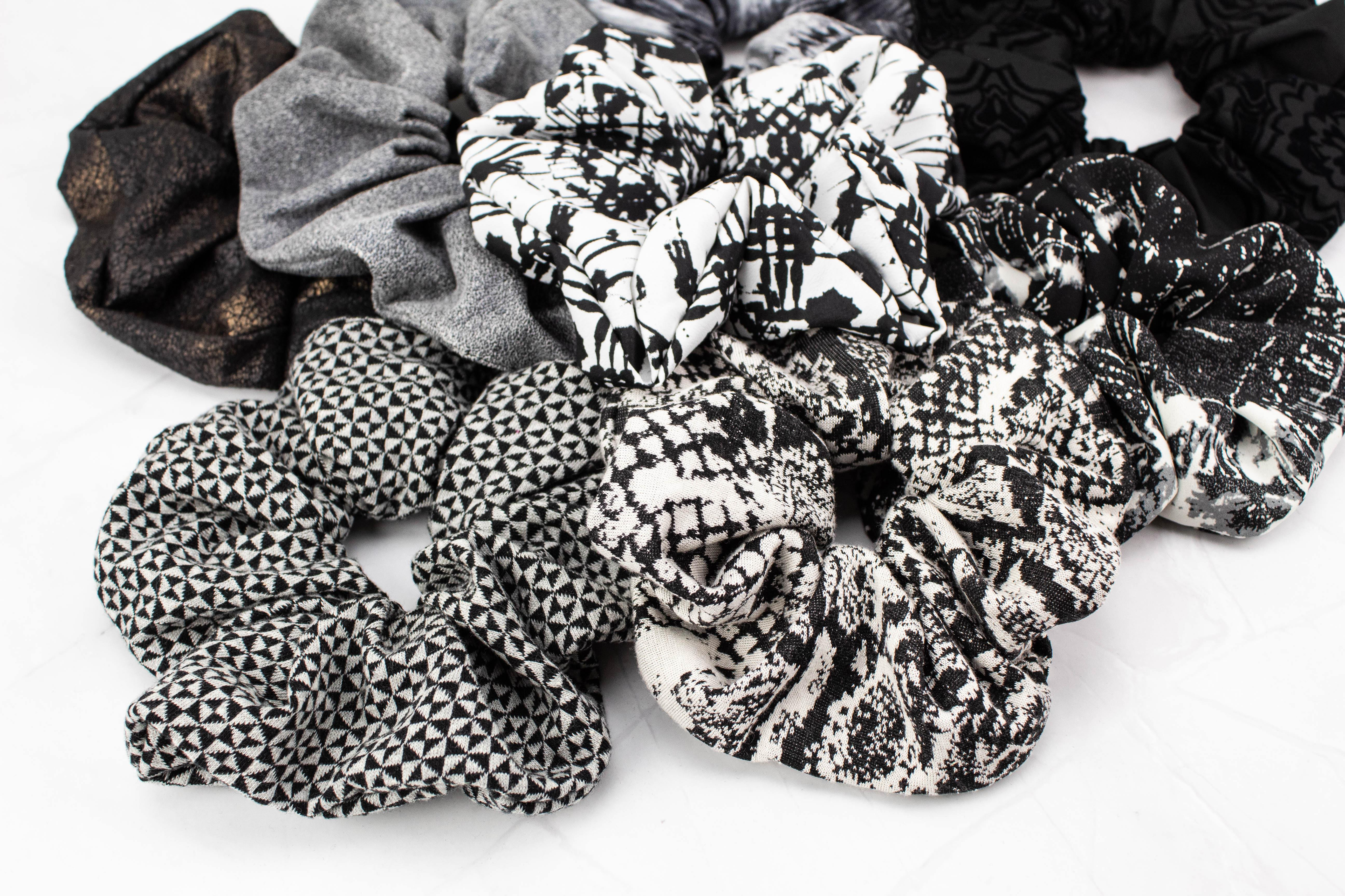 Black and Off White Snakeskin Print Extra Large Hair Scrunchie