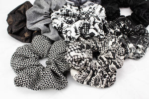 Black and Off White Graphic Print Extra Large Hair Scrunchie