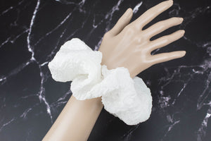 Off White Embossed Silk Organza Satin Wedding Extra Large Hair Scrunchie