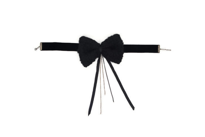 Black Fuzzy Wool Bowtie Velvet Choker Necklace Accessory