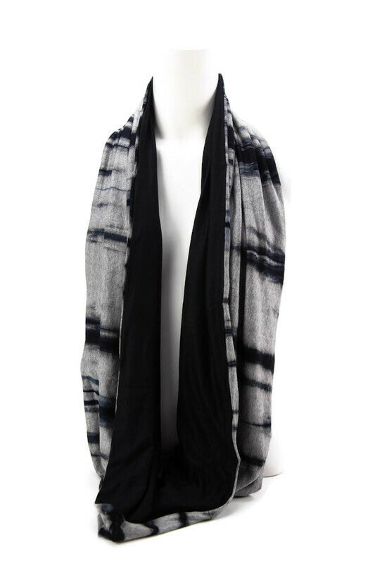 Gray and Navy Blue Tie Dye Reversible Infinity Scarf