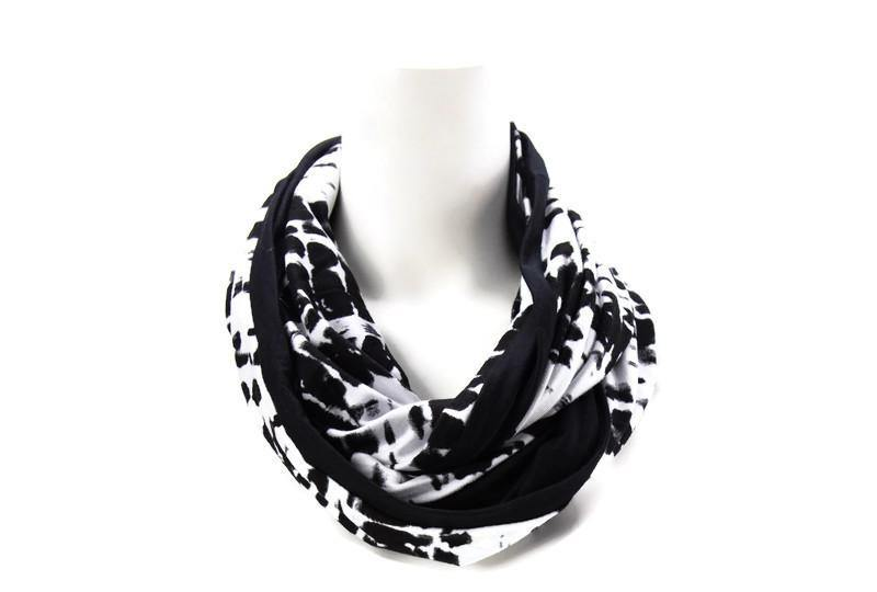 Black and White Tie Dye Reversible Infinity Scarf
