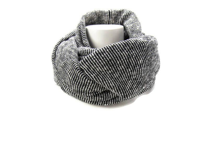 Black and Cream Rib Knit Infinity Scarf