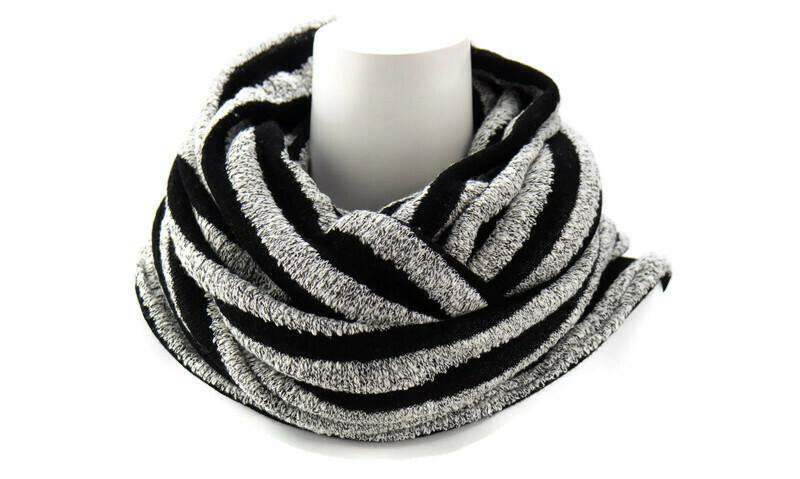 Black and White Stripe Infinity Scarf