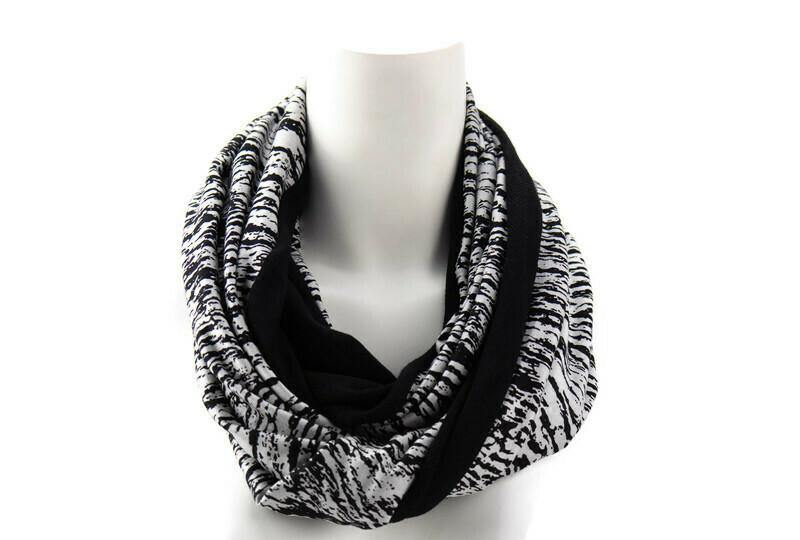 Black and Silvery White Bark Print Infinity Scarf