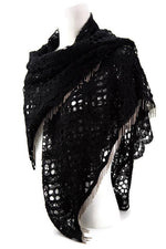 Black Floral Lace Fringe Wrap Shawl