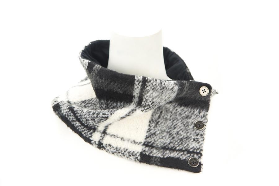 Black and Cream Plaid Cowl Scarflette