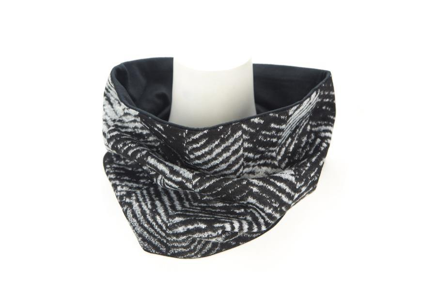 Black and Gray Herringbone Wool Cowl