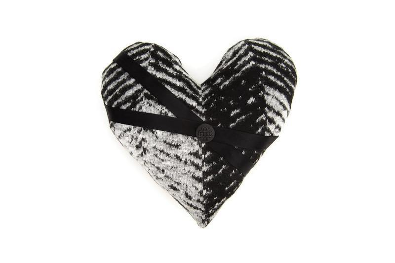 Black and Gray Herringbone Heart Pillow