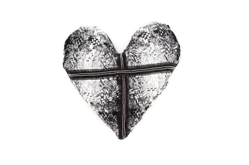 Black and White Tweed Heart Pillow