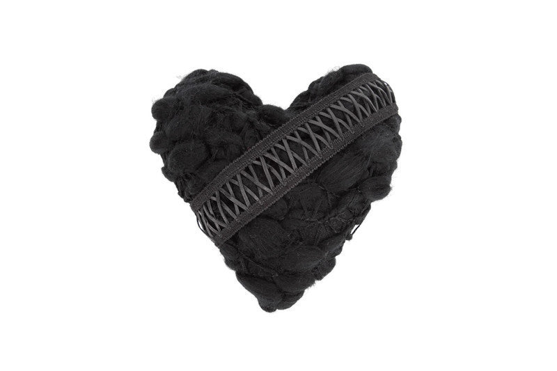 Black Textured Heart Pillow